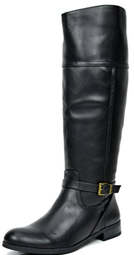 TOETOS Women's Circo Black Knee High Riding Boots Wide Calf Size 8.5 M (Women Black Boots)