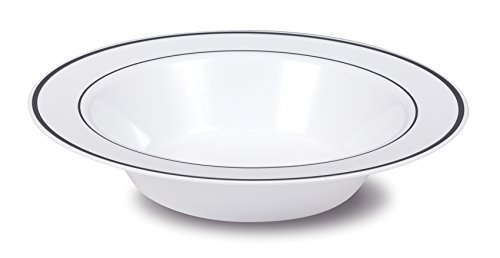 Select Settings [50 COUNT] Soup Bowls (12 oz.) - White with Silver Rim Plastic Disposable Bowls