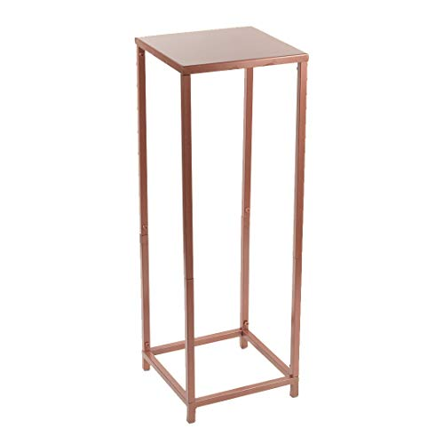 (Koyal Wholesale Modern Flower Stand, Metal Floral Pedestal Stand for Wedding Centerpieces, Suitable for Indoor Outdoor Party, Simple Square Pillar Design for Vases (Rose Gold, 29 x)