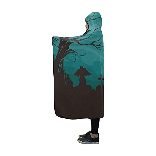YUMOING Hooded Blanket Halloweenthemed Design Featuring Creepy Graveyard Blanket 60x50 Inch Comfotable Hooded Throw Wrap -