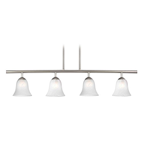 Modern Linear Pendant Light with 4-Lights and Alabaster Glass in Satin Nickel Finish