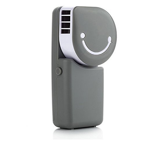 Summer Portable USB Air Conditioner Mini Fan Mute Bladeless Handheld Small Personal Cooling Fan USB/Rechargeable Battery Operated Desktop Cooler Table Fans, Great for Travel Home Office Sports (Grey) by Greenery