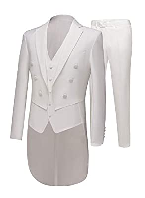 Men's Ivory Long Jacket Tailcoat Wedding Suit 3 Pieces Groom Tuxedos Party Dinner Suits