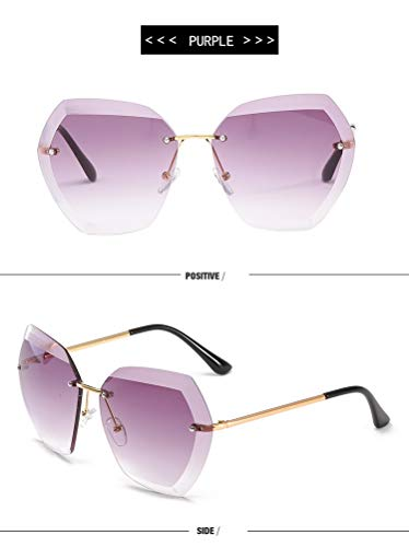 De Purple Pour Surdimensionné Luxe Rétro Les Vintage Dame Sans Monture Sunglasses Femme Tyjyy Femmes Lunettes Marque Designer Soleil YwRTqS6