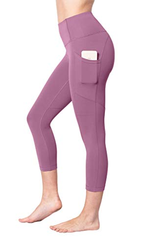 "Yogalicious 22"" High Waist Yoga Capris - Yoga Leggings - Yoga Capris for Women - French Pink with Pocket - Large"