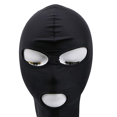 JETEHO Black Full Face Balaclava Hood Eyes & Mouth Holes Swat Mask Cosplay for Adult Supplies - Size M