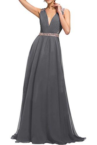 Applikation Promkleid Chiffon Ivydressing Damen Schulter Ein Abendkleid Spitze Silber Festkleid R4URn