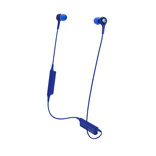 Audio Technica ATH CK200BT Bluetooth Wireless in Ear Headphones with in Line Mic  amp; Control, Blue