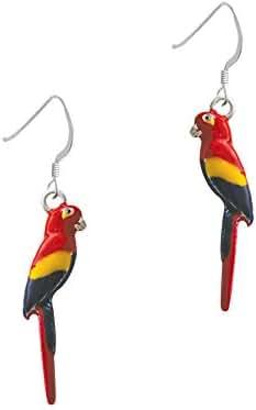 3-D Enamel Parrot French Earrings