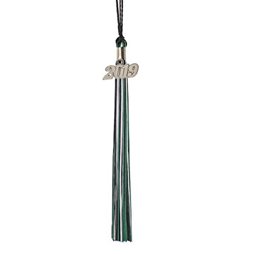 Class Act Graduation Black Blue and Green Graduation Tassel with 2019 Silver Charm ()