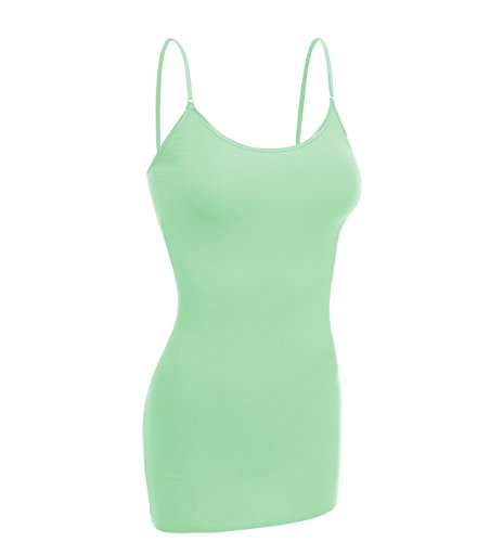 Junior Large Mint - Emmalise Women Camisole Built in Bra Wireless Fabric Support Long Layering Cami, Medium, Mint