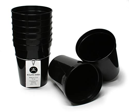 Rolling Sands 16oz Reusable Plastic Stadium Cups Black (8 Pack, Made in USA, BPA-Free) Dishwasher Safe Plastic Tumblers