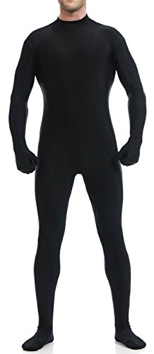 [VSVO Men's Unitard Dancewear Lycra Spandex Bodysuit (Medium, Black)] (Adult Black Suit Superman Costumes)