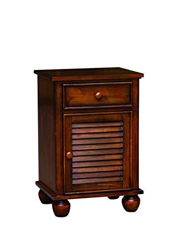 Sunset Trading CF-1137-0158 Bahama Shutter Wood Nightstand Felt Lined Drawer | Cabinet with Shelf Tropical Walnut