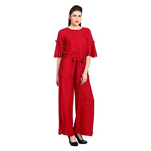 14a4ee0c851 Stylation Rayon Maroon Ruffle Sleeves Jumpsuit  Amazon.in  Clothing    Accessories