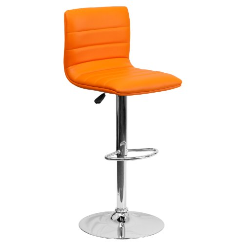 (Flash Furniture Contemporary Orange Vinyl Adjustable Height Barstool with Chrome Base)