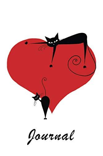 Journal: Black Cats on Heart 6x9 - GRAPH JOURNAL