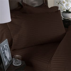 Brown (Chocolate) Stripe Full Size Bed Sheet Set - 300 Thread 100% Egyptian Cotton [Fitted Sheet + Flat Sheet + 2 pillowcases]