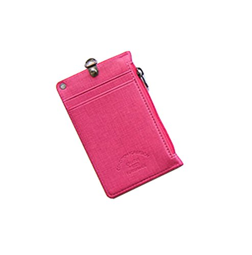 ID Card Badge Holder Unisex Zipper Pocket Credit Card Case Purse Wallet with Lanyard Neck Strap (Pink)