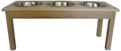 Classic Pet Beds 3-Bowl Traditional Style 2-Quart Ash Pet Diner, Medium, Natural