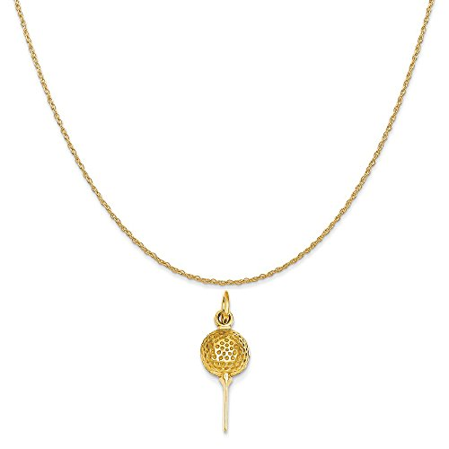Mireval 14k Yellow Gold Golf Ball Charm on a 14K Yellow Gold Rope Chain Necklace, 16