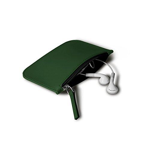 Lucrin - Funda con cremallera para auriculares - Rojo - Cuero Liso Verde Oscuro