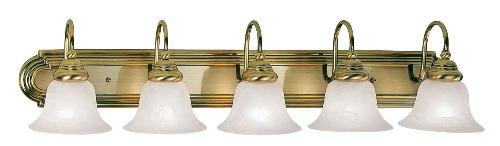 Bathroom Vanity 5 Light With White Alabaster Glass Antique Brass size 36 in 500 Watts - World of Crystal 36 Inch Antique Brass