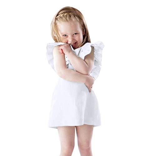 Emimarol Newborn Baby Girls Sleeveless Dresses Solid Ruffles