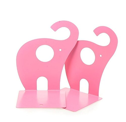 Silver Urban Racks (URBeauty 1 Pair/2PCS Cute Elephant Bookends Nonskid Art Bookend Gift Non-skid Book Rack Book Organizer For Office School Library Pink Elephant)