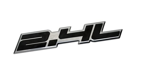 2.4L Liter Embossed BLACK on Highly Polished Silver Real Aluminum Auto Emblem Badge Nameplate for Honda Accord Civic LX SE EX EX-L CR-V CRV CRX Element AWD ...