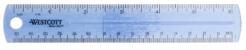 Westcott 6-Inch Plastic Ruler, Assorted Colors, 2-Pack