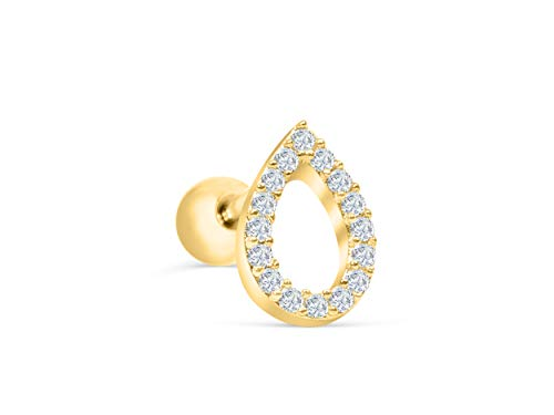 (ONDAISY 14k Gold Plated Simulated Diamond Cz Open Line Raindrop Waterdrop Teardrop Ear Barbell Ball Stud Earring Piercing)