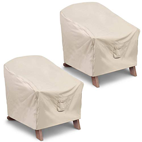 (Vailge Patio Adirondack Chair Covers, Heavy Duty Patio Chair Cover, Waterproof Outdoor Lawn Patio Furniture Covers (Standard - 2 Pack,Beige))