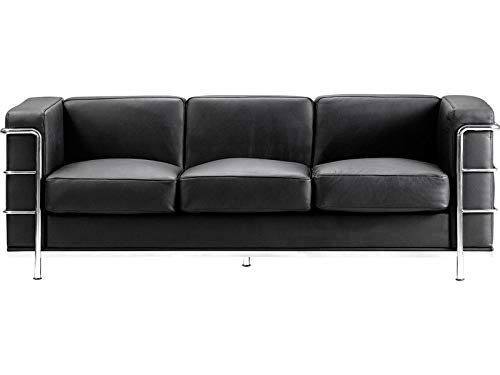 Rabinyod Bulan Mid-Century Classic Lounge Sofa in Black Italian Leather - Lounge Furniture ()