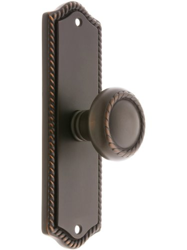 Colonial Revival Rope Design Door Set With Matching Rope Knobs Privacy In Oil Rubbed Bronze. Antique Hardware Knobs. ()