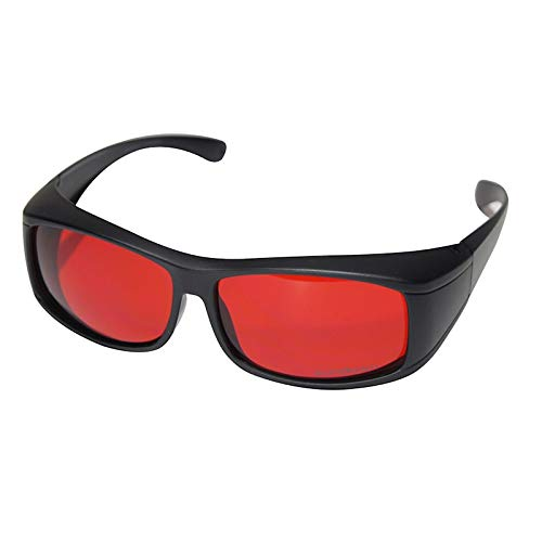 Blue Blocking Over Glasses - PRE-Sleep - RED Before Bed - PaleoTech® Dark Lens Blocks Blue & Green Light - Science Based (Dark Therapy) - Fall Asleep Faster & Optimize ()