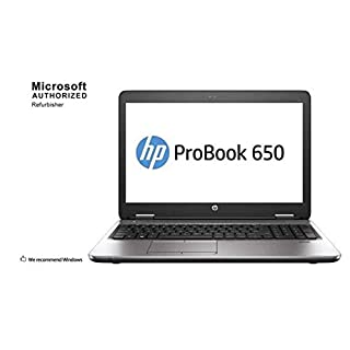 HP ProBook 650 G2 15.6 Inch Business Laptop PC, Intel Core i5 6300U up to 3.0GHz, 16 GB DDR4, 256 GB SSD, WiFi, DVD, VGA, DP, Win 10 Pro 64 Bit-Multi-Language Supports English/Spanish/French(Renewed)