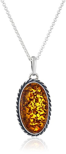 Honey Amber Sterling Silver Oval with Chain Pendant Necklace, 18