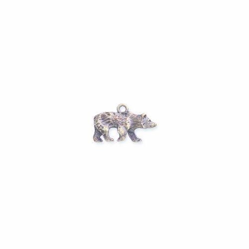 er Bear Pendant, Antique Brass, 15 by 24mm, 4-Piece ()