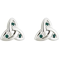 Trinity Knot Earrings White Gold & Emerald Irish Made