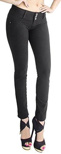 U-Turn #1119 Moleton Butt Lift Skinny Pants - Women's Fashion Jeans BLACK (Cotton Skinny Pants)