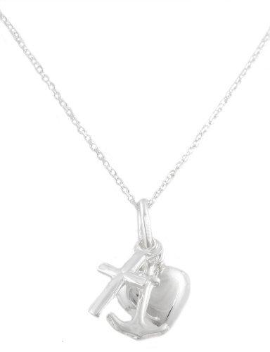 Italian Sterling Silver Small Dangle Cross, Heart, Anchor 18 Inch Link Necklace (I-995) Heart Italian Cross