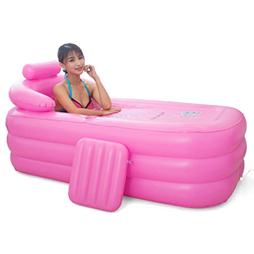 Bathtubs Freestanding Thick Warm Inflatable Household Adult Folding Tub Children's Tub Portable Bath Tub Children's Pool Four Seasons Available (Color : Pink, Size : 155x84x64cm)