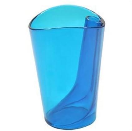 Merveilleux *Blue Flip Cup Dual Purpose Bathroom Tumbler Colorful Ergonomic Design  Clear Plastic BPA Free