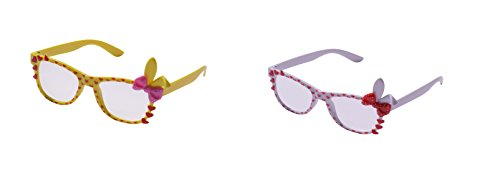 UltraByEasyPeasyStore 2 Pairs of Cute 3D Multi Color clear lens Bunny Heart Bow Frames for costumes parties Glasses gift nerds & hipsters Blue Pink Black Yellow White (1 White 1 Yellow Pair) ()