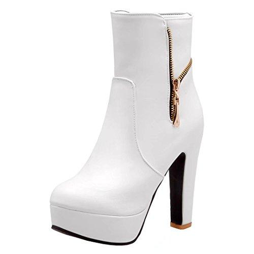 18012b27e1 AIYOUMEI Damen Geschlossen Blockabsatz High Heels Plateau Stiefeletten mit  Reißverschluss Eleagnt Winter Stiefel Schuhe Weiß