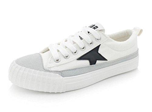 XIE Señora Zapatos Pequeños Zapatos Blancos Permeabilidad Retro Plano Fondo Ocio Estudiantes Estrellas Escuela Blanco, White, 35 WHITE-37