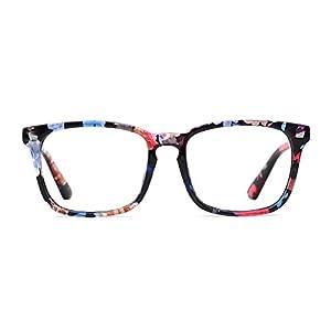 TIJN Women's Floral Glasses Frame Wayfarer Non-prescription Clear Lens Eyeglasses