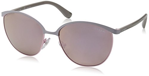 VOGUE Women's Metal Woman Non-Polarized Iridium Round Sunglasses, Pastel Grey, 57 - Sunglasses Brand Vogue