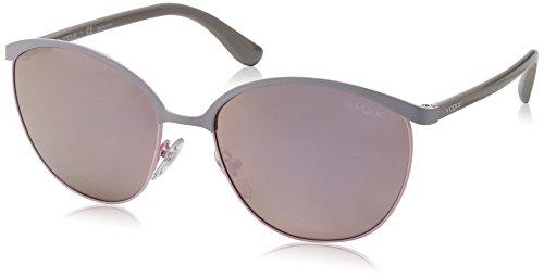 VOGUE Women's Metal Woman Non-Polarized Iridium Round Sunglasses, Pastel Grey, 57 - Vogue Sunglasses Brand
